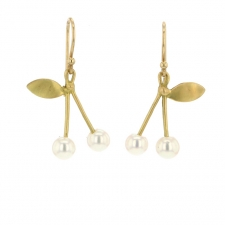 Gold Cherry Pearl Earrings Image