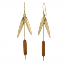 Cat Tail Gold Tigers Eye Earrings Image