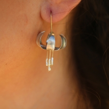 Silver and Gold Turks Cap Lily Earrings with Pearls Image