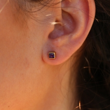 Amethyst Gold Square Stud Earrings Image
