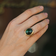 Green Tourmaline and Black Diamond Gold Branch Ring Image