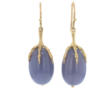 Blue Chalcedony Quail Egg 14k Gold Claw Earrings Image