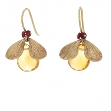Citrine and Ruby Bug Gold Earrings