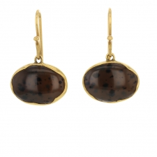 Spotted Montana Agate Drop 18k Gold Earrings