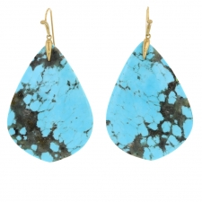 18k Gold Turquoise Wing XL Earrings Image