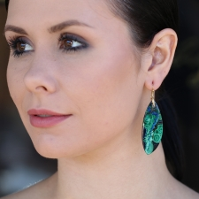 Malachite and Azurite Tropical Wing Gold Earrings Image