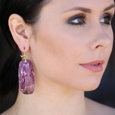 Long Ruby 18k Gold Drop Earrings Image