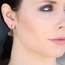 Spotted Montana Agate Drop 18k Gold Earrings Image
