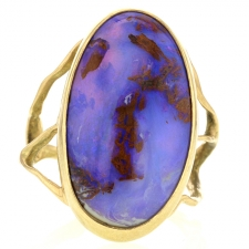 Opalized Wood Branch Gold Ring Image