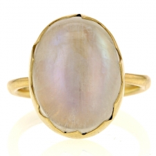 Rainbow Moonstone Gold Egg Ring Image
