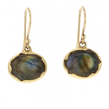 Labradorite Egg 18k Drop Earrings Image