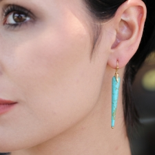 Kingman Turquoise Gold Bird Earrings Image