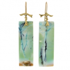 Long Indonesian Blue Opalized Wood with Copper Earrings