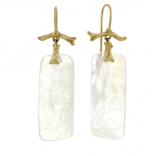 Rainbow Moonstone Slice 14k Gold Earrings Image