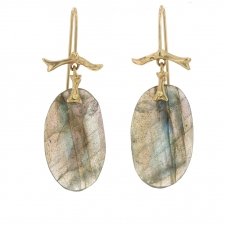 Labradorite Slice 14k Gold Branch Earrings