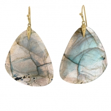 Labradorite 18K Gold Tropical Wings Earrings Image