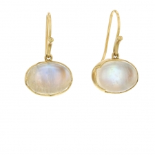 Rainbow Moonstone Egg 18k Gold Earrings Image