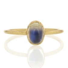 Small Rainbow Moonstone Egg 18K Gold Ring Image