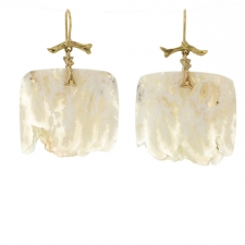 Plume Agate Slice Gold Branch Earrings Image