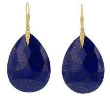 Lapis Drop Gold Earrings Image