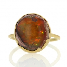 Orange Mexican Matrix Opal Egg Ring Image