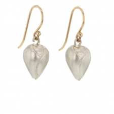 Silver Plain Rose Bud Drop Earrings Image