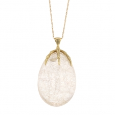 Rutilated Quartz Claw Quail Egg Gold Necklace