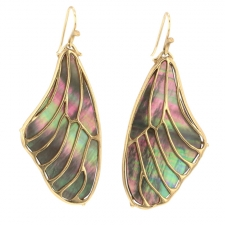 Pampion Wing Top 10k Black Mother of Pearl Earrings Image