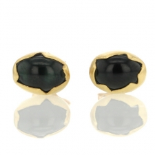 Green Tourmaline Gold Studs Image