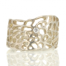 Sea Fan Silver Ring with Diamond