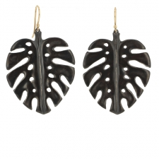 Large Blackened Silver Palm Leaf Earrings Image