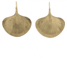 Large Ginko Leaf Gold Earrings Image
