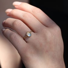 Rainbow Moonstone Egg 18k Gold Ring Image