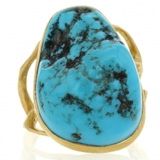 Unique Turquoise Branch 18k Gold Ring Image