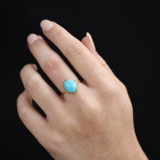 Sleeping Beauty Turquoise 18k Gold Egg Ring Image