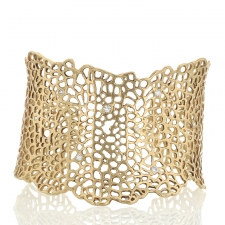 14k Gold Sea Fan with Diamonds Cuff Bracelet Image