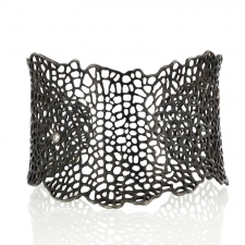 Blackened silver Sea Fan Cuff with Diamond Image