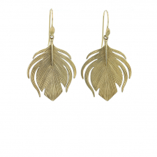 14k Gold Small Peacock Earrings Image