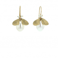 Pearl Jeweled Bug Gold Earrings Image