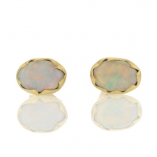 Opal Egg Stud Gold Earrings Image