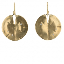 Large Gold Lilly Pad Earrings Image