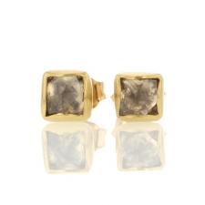 Raw Diamond Gold Stud Earrings Image