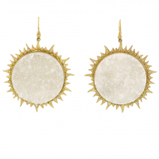 Crystal Drusy Gold Eclipse Earrings with Diamonds Image