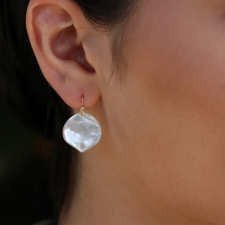 White Mother of Pearl Rose Petal Earrings Image