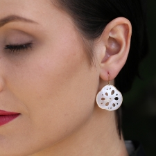 Pink Mother of Pearl Lotus Root Earrings Image