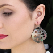 Large Black Mother of Pearl Lotus Root Oxidized Silver Earrings Image
