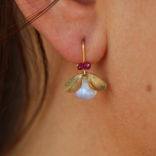 Rainbow Moonstone Jeweled Bug Gold Earrings Image
