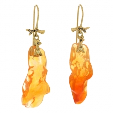 Jelly Opal Nugget Gold Earrings Image