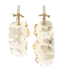 Plume Agate Slice Branch Earrings Image