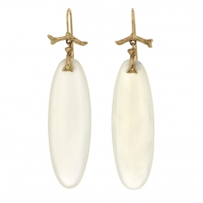 White Agate 10k Branch Earrings Image
